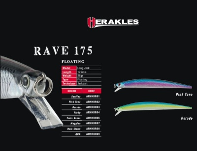 ARTIFICIALE HERAKLES RAVE 175 FLOATING LONG JERKBAIT 175 CM 28 GR LONG JERK