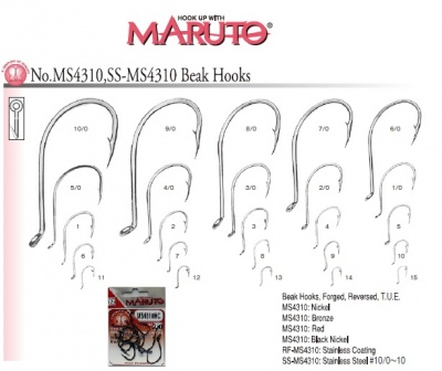 MARUTO MS4310 HC HIGH CARBON BLACK NICKEL HOOK AMO CON OCCHIELLO PZ.10