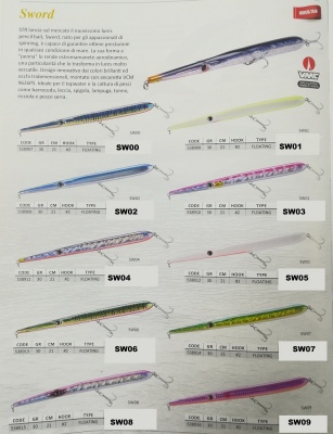 STR SLIDER NEEDLE SWORD ARTIFICIALE LURES FLOATING  21CM  GR.30