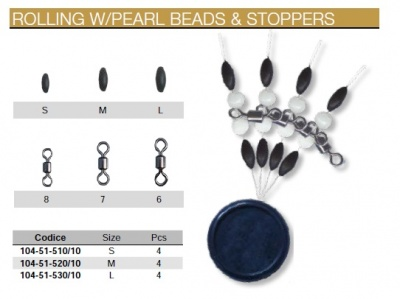 TRABUCCO ROLLING WITH PEARL BEADS E STOPPERS TRAVE PRONTO 4 PZ